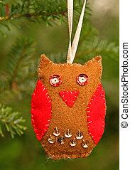 Hand made owl, Christmas decoration