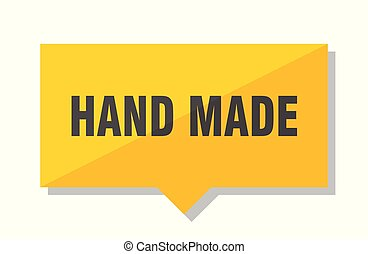 hand made price tag - hand made yellow square price tag