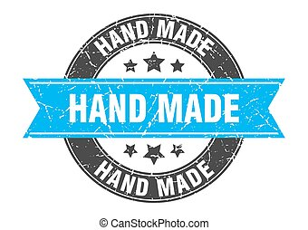 hand made round stamp with turquoise ribbon. hand made