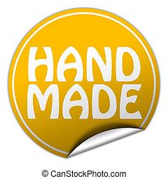 hand made round yellow sticker on white background