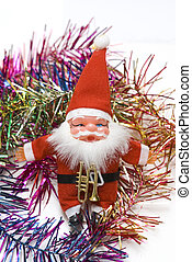 hand made santa claus toy and borders