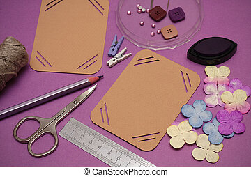 scrapbooking - hand made scrapbooking album and tools lying ...