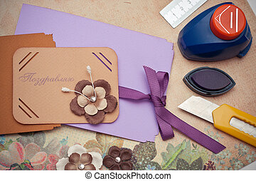 scrapbooking - hand made scrapbooking post card and tools ...
