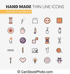 Hand Made Sewing Crafting Linear Thin Line Vector Icons Set with Tools and Accessories