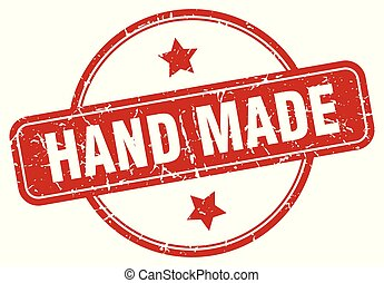 hand made sign - hand made vintage round isolated stamp
