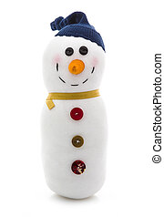 Hand Made Snowman wth Blue Hat on a White Background