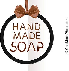 'Hand made soap' VECTOR tag on folded paper background