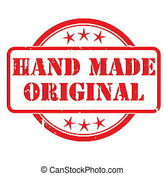 Grunge rubber stamp with small stars and the Hand Made Original sign, symbol