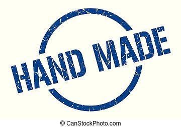 hand made stamp - hand made blue round stamp