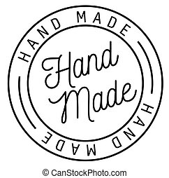hand made stamp on white background . Label sticker