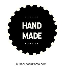 hand made stamp on white background. Sticker or label.