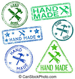 Hand made. Rubber stamp vector illustrations