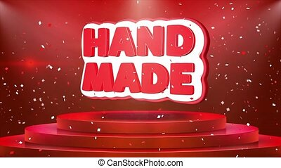 Hand Made Text Animation Stage Podium Confetti Loop Animation