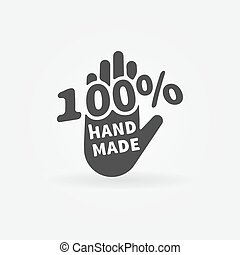 Hand made vector label or icon - 100 percent handmade black...