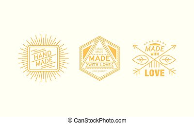 Hand made with love logo set, golden badges, labels, tags for hand made products vector Illustration on a white background