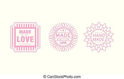 Hand made with love logo set, pink badges, labels, tags for hand made products vector Illustration on a white background