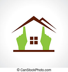 Hand make a home icon