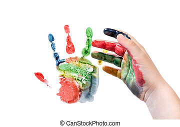 Hand makes an imprint - Child hand had just made a colorful ...