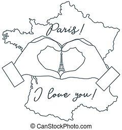 Hand making a heart shape. Tower, symbol of Paris.