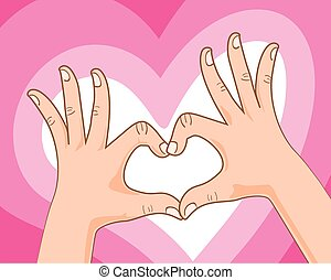 hand making heart sign