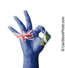 Hand making Ok sign, British Virgin Islands flag painted as symbol of best quality, positivity and success - isolated on white background