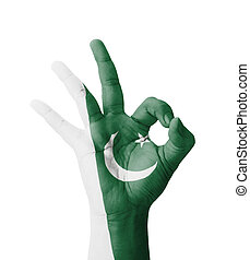 Hand making Ok sign, Pakistan flag painted as symbol of best...