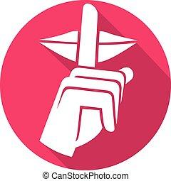 hand making silence sign flat icon (silence symbol, no speak...