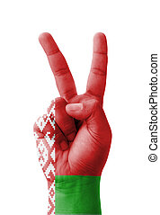 Hand making the V sign, Belarus flag painted
