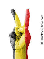 Hand making the V sign, Belgium flag painted