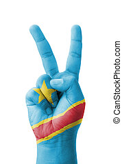 Hand making the V sign, Democratic Republic of the Congo...