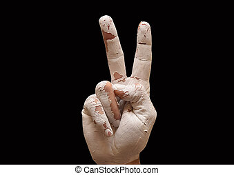 Hand making the V sign