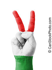 Hand making the V sign, Hungary flag painted