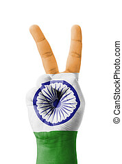 Hand making the V sign, India flag painted