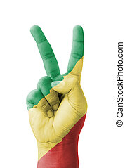 Hand making the V sign, Republic of the Congo flag painted...