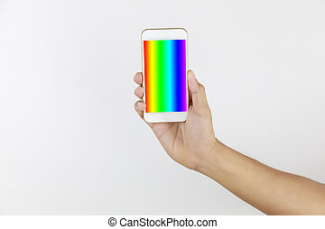 Hand man holding mobile phone in screen show LGBT symbols. Hand hold smart phone with rainbow screen isolated on white background with copy space. LGBT Concept activism, community and freedom. Lesbian, gay, bisexual and transgender.