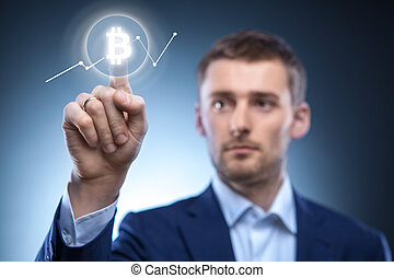 hand man Icon Bitcoin on virtual screen.