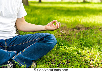 hand man meditating on the nature, relaxation