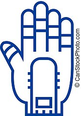 Hand manipulator line icon concept. Hand manipulator flat vector symbol, sign, outline illustration.
