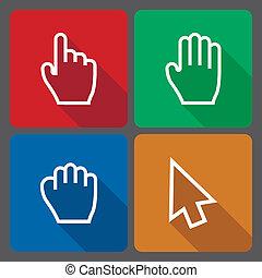 hand, markörer, ikonen, med, länge, skugga