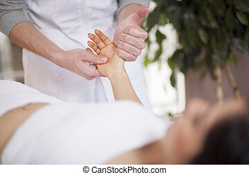 Hand massage at a spa