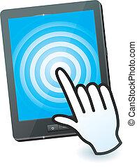 hand, mauspfeil, und, tablette pc, mit, touchscreen