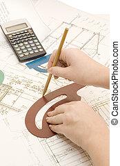 hand, med, a, blyertspenna, på, den, projekt