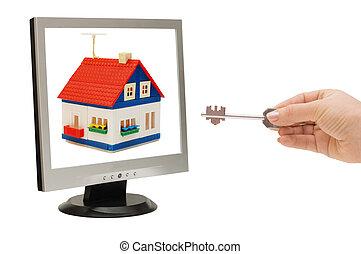hand, med, a, nyckel, sträcker, för, den, hus