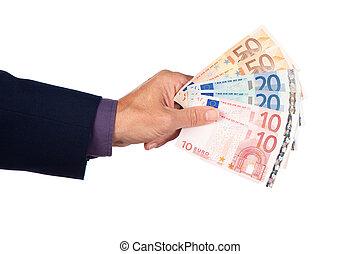 hand, med, euro sedlar