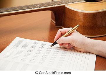hand, med, fålla och, musik blad