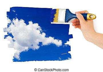 hand, med, målarpensel, målning, sky