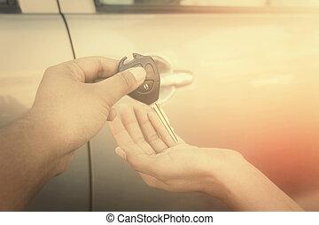 hand, med, nyckel, bil