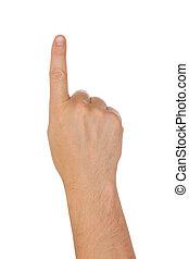 hand, med, pekfinger, isolerat, på, a, vit fond