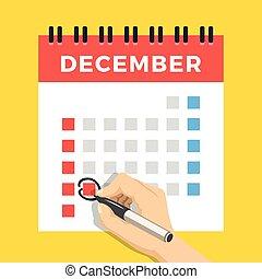 hand, med, penna, märke, calendar., december 25, juldag, circled., oss, version, med, vecka, started, på, sunday., lägenhet, design, concept., lägenhet, vektor, illustration