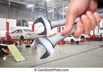 hand, med, wrench., bil, mechanic.